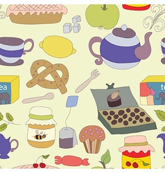 Tea Party with cup of tea and desserts fruits vector image