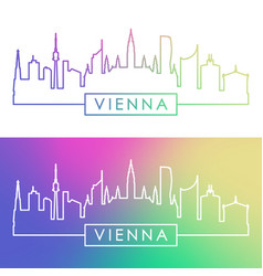 vienna skyline colorful linear style vector image vector image