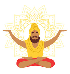 yogi man in yoga lotus pose and with arms raised vector image