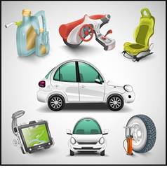 Car and accessories vector image vector image
