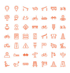 49 road icons vector image