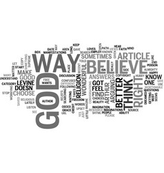 a better way to find god text word cloud concept vector image vector image