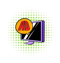 Advertising on TV icon comics style vector image
