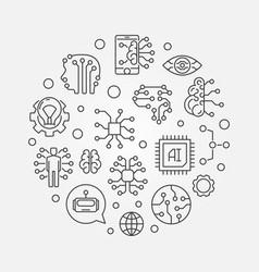 Ai outline artificial vector