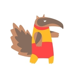 Anteater Animal Dressed As Superhero With A Cape vector