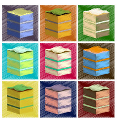Assembly flat shading style icons piece of cake vector