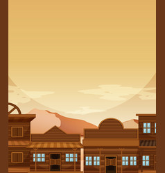 Background template with building in western vector