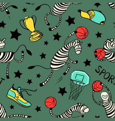 Basketball game seamless pattern with doodle cute vector