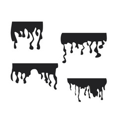black dripping stain set oil sauce or paint vector image