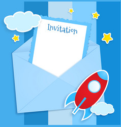 Blue invitation card with clouds and airplane vector image