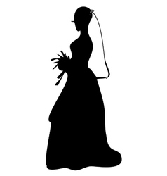 Bride in wedding dress with flowers i vector image