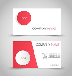 Business card set template Red and white color vector