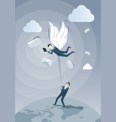 Business man hold colleague with wings flying vector