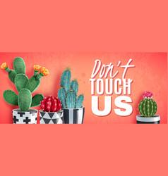 cactus realistic horizontal poster vector image