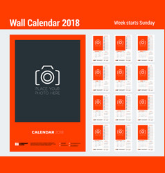 Calendar planner template for 2018 year set of 12 vector
