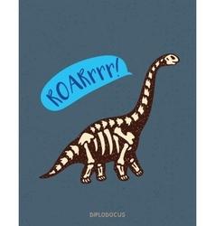 Cartoon diplodocus dinosaur fossil vector image vector image