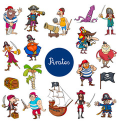 Cartoon pirates fantasy characters set vector
