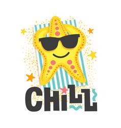 Chill starfish sunbathes in glasses on beach vector