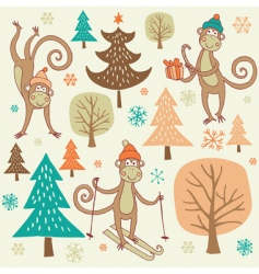 Christmas forest with monkey vector