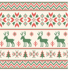 Christmas knitted pattern winter geometric vector