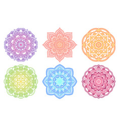 colorful mandala ethnic round gradient ornament vector image