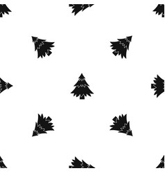 coniferous tree pattern seamless black vector image