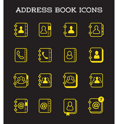 contact us address book icons in isolated for vector image