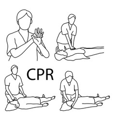Cpr demonstration first aid sketch vector