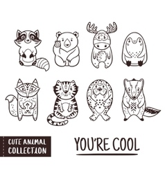 Cute animal set with cartoon characters Outline vector