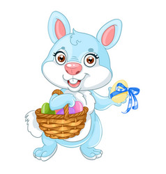 cute easter bunny with basket eggs vector image