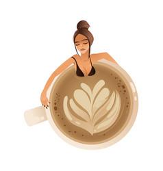 cute girl taking bath in giant coffee mug flat vector image