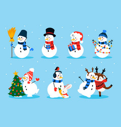 cute snowman cartoon winter christmas character vector image