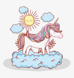cute unicorn in the cloud with sun and plants vector image