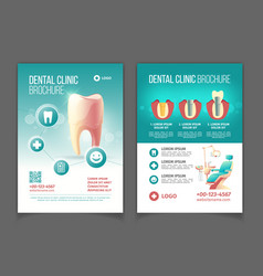 Dental clinic promo flyer cartoon pages vector