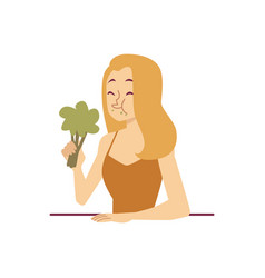 Displeased face woman with broccoli on a diet flat vector
