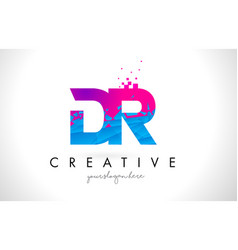 Dr d r letter logo with shattered broken blue vector