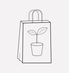eco tote bag icon line element vector image