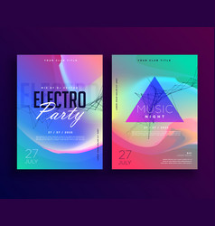 Electro music colorful party event flyer template vector