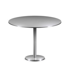 Empty modern round table with metal stand isolated vector