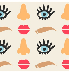 Face features cute seamless pattern eps 10 vector