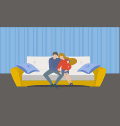 family couple on sofa concept banner flat style vector image