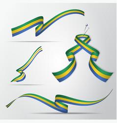 Flag gabon 17th august set realistic vector