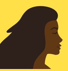 flat cartoon african woman profile head vector image