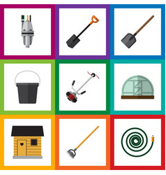 Flat icon garden set of hosepipe stabling tool vector