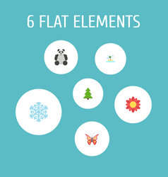 Flat icons beauty insect winter snow tree and vector