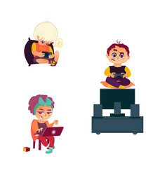 flat kids and digital devices set vector image
