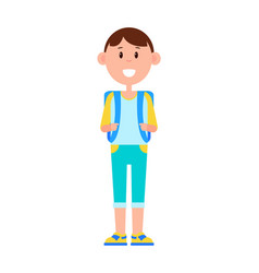 Funny schoolboy with big backpack and broad smile vector