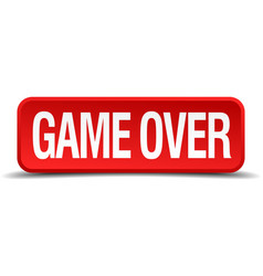game over red 3d square button on white background vector image