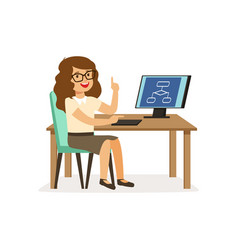 Girl sitting at computer pupil of elementary vector