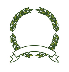 green olive branches forming a circle with thick vector image